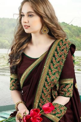 Pack Of Ethnic Occasional Wear Vichitra Silk Embroidery Saree And Blouse