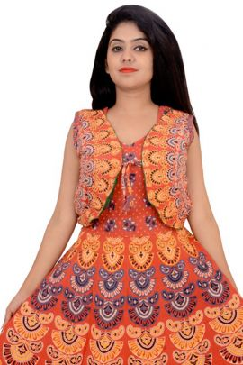 Pack Of Ethnic Office Wear Printed Cotton Kurti With Cotton Jacket Set