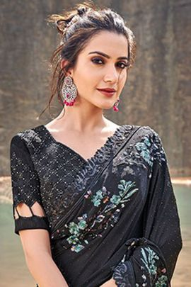 Pack Of Event Wear Lace Work Fancy Fabric Saree With Blouse Piece Bunch