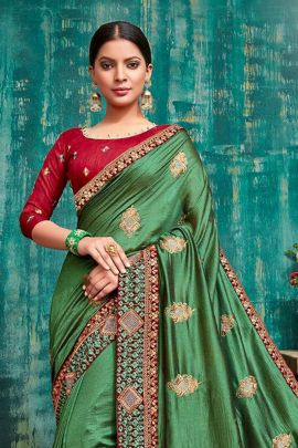 Pack Of Festive Ethnic Wear Fancy Fabric Embroidery Saree With Blouse