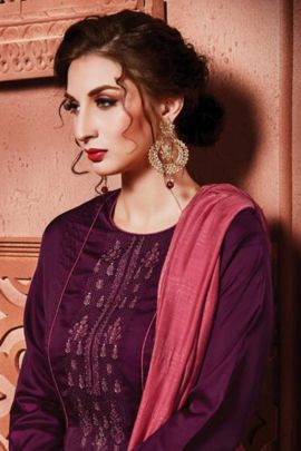 Pack Of Festive Wear Embroidered Cotton Satin Rajavir Salwar Suit With Dupatta