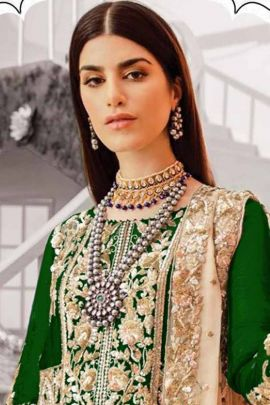 Pack Of Festive Wear Georgette Embroidered Juinad And Jamshed Pakistani Suit With Dupatta