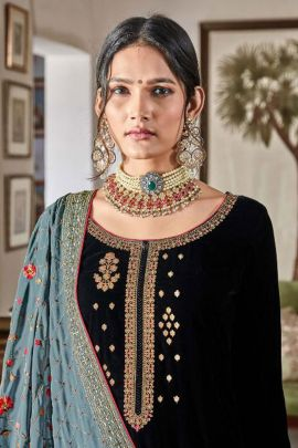 Pack Of Wedding Guest Wear Velvet Embroidered Suit Maskeen Set