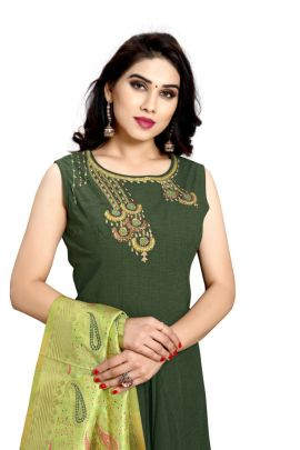 Pack Of Wedding Wear Hand Work Cotton Gown With Dupatta Set