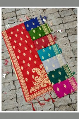 Red Banarasi Silk Designer Weaved Zari Dupatta