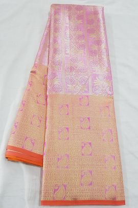 Set Of 13 Bridal Wear Weaved Tissue Silk South Indian Saree With Blouse Piece