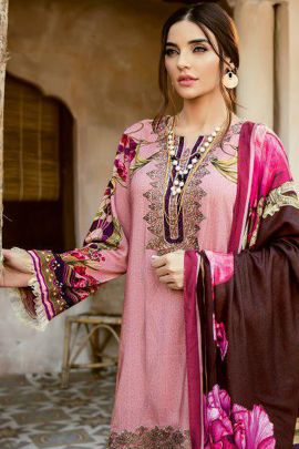 Set Of 5 Islamic Style Embroided Shree Fab Jam Cotton Suit