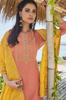 Set Of 6 Occaional Wear Embroided Shahnaz Arts Jam Satin Suit