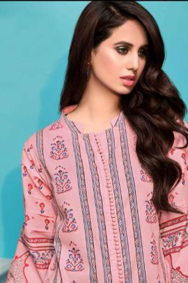 Set Of Casual Wear Printed Cambric Cotton Pakistani Salwar Suit With Dupatta