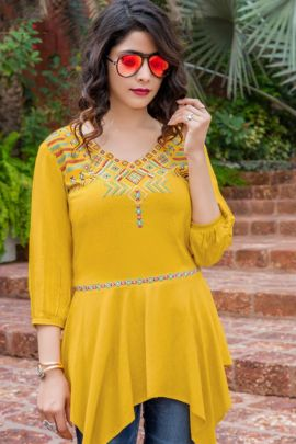 Set Of College Wear Rayon Top With Embroidery Work By Yami Fashion