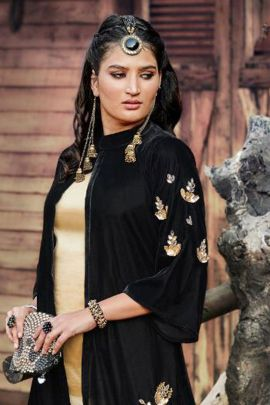 Set Of Designer Velvet Mirror And Pearl Work Jacket Top With Bottom By Inaya