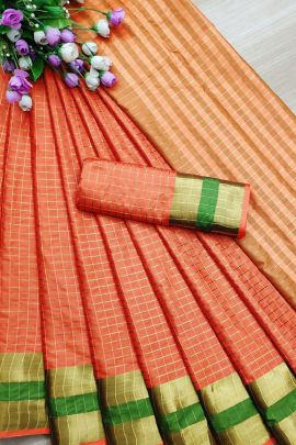 Set Of Event Indian Wear Weaved Cotton Silk Saree With Blouse