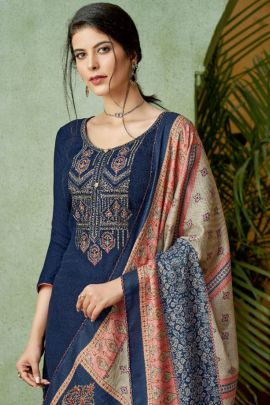 Set Of Festive Wear Embroidered Pashmina Alok Salwar Suit With Dupatta