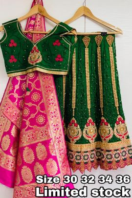 Set Of Festive Wear Net Embroidered Lehenga With Silk Dupatta Collection