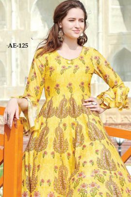 Set Of Party Wear Muslin Cotton Digital Printed Long Sleeves Gown Collection