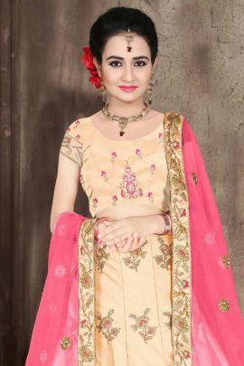 Set Of Party Wear Satin Silk Embroidered Lehenga With Net Dupatta