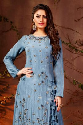 Set Of Wedding Wear Embroidery Work Maslin Indo Western Collection