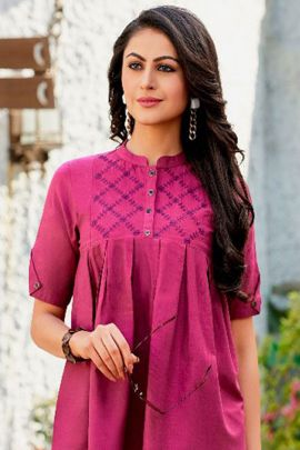 Set Of Western Wear Cotton Embroidered Tops With Elbow Sleeve