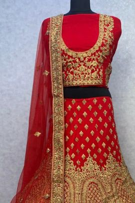Wholesale Bridal Wear Velvet Lengha With Embroidery Work By TR