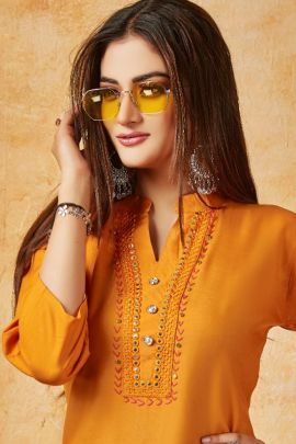 Wholesale Casual Daily Wear Embroidery Straight Long Kurti Collection