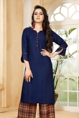Wholesale Casual Office Wear Plain Rayon Kurti With Plazzo Collection