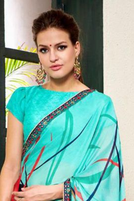 Wholesale Casuasl Wear Printed Chiffon Georgette Saree With Blouse Set