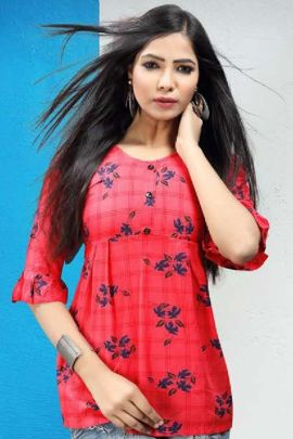 Wholesale College Casual Wear Printed Waist Length Rayon Tops Collection