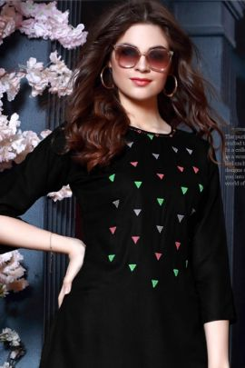 Wholesale College Wear Embroided Rayon Tops Catelogue