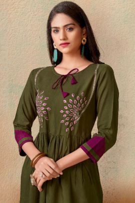 Wholesale College Wear Embroidered Rayon Vardhan Designer Fancy Top Catalog