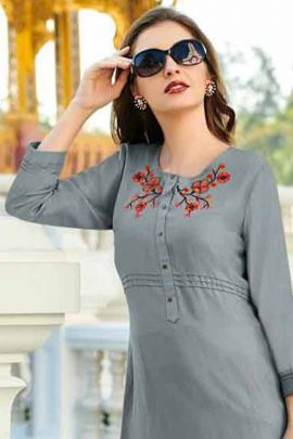 Wholesale College Wear Embroidered Viscose Kessi Fabrics Top Collection