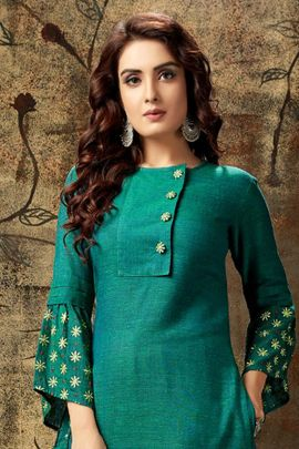 Wholesale College Wear Embroidery Cotton Kurti Set