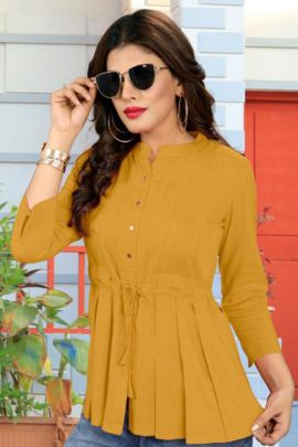 Wholesale College Wear Vrunda Tex Plain Rayon Tops Collection