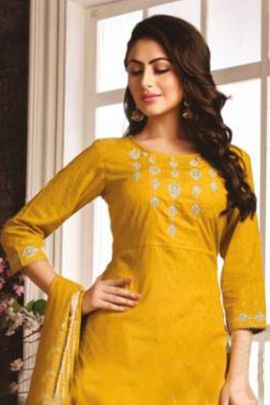 Wholesale Cotton Embroidered Knee Length Read Made Dress With Dupatta Collection