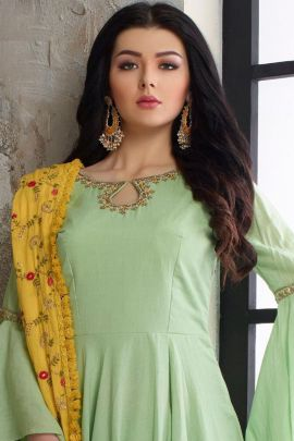 Wholesale Cotton Maslin Embroidered Full Length Anarkali Suit With Dupatta Collection