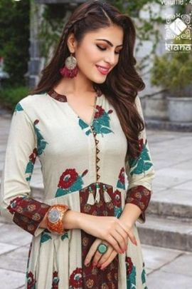 Wholesale Cotton Printed Designer Floor Touch Event Wear Kurti Collection