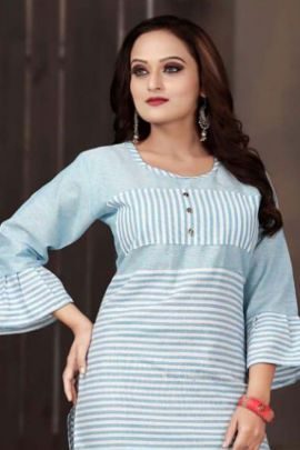 Wholesale Cotton Printed Evening Wear Knee Length Aagya Kurti Collection