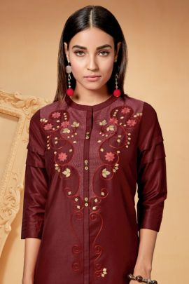 Wholesale Cotton Silk Stylish Embroidered Event Wear Kurti With Pant Collection
