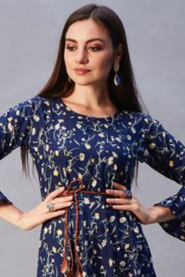 Wholesale Crepe Printed Designer Frock Style Fashion Reloader Kurti Collection