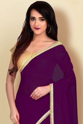 Wholesale Daily Regular Wear Lace Border Georgette VND Saree With Blouse