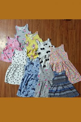 Wholesale Daily Wear Cotton Botton Printed Girls Frock Collection