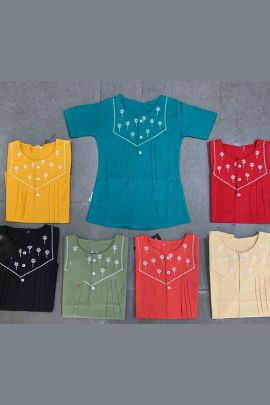Wholesale Daily Wear Cotton Embroidered Girls Tops Collection