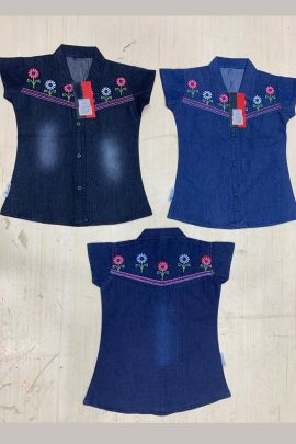 Wholesale Daily Wear Embroided Denim Kids Girl Top Catelogue