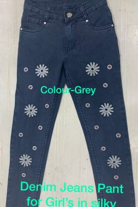 Wholesale Daily Wear Embroided Denim Kids Girls Jeans Catelogue