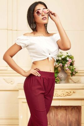 Wholesale Daily Wear Fancy Fabric Plain Rung Pant Collection