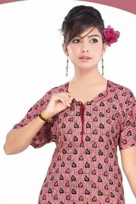 Wholesale Daily Wear Full Length Printed Cotton Night Gown By Fashion Talk