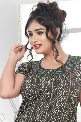 Wholesale Daily Wear Printed Cotton Sinker Kavya Style Plus Nighty Collection