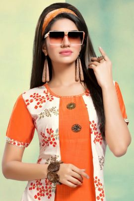 Wholesale Daily Wear Printed rayon Kurti With Jacket Set