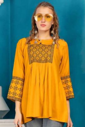 Wholesale Daily Wear Rayon Top With Embroidery Work By Fashion Talk