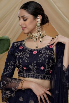 Wholesale Designer Net Lehenga Choli With Embroidery And Sequins Work By Khushbu Fashion