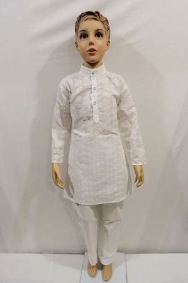 Wholesale Ethnic Event Style Plain Cotton Kids Kurta Pajama Set